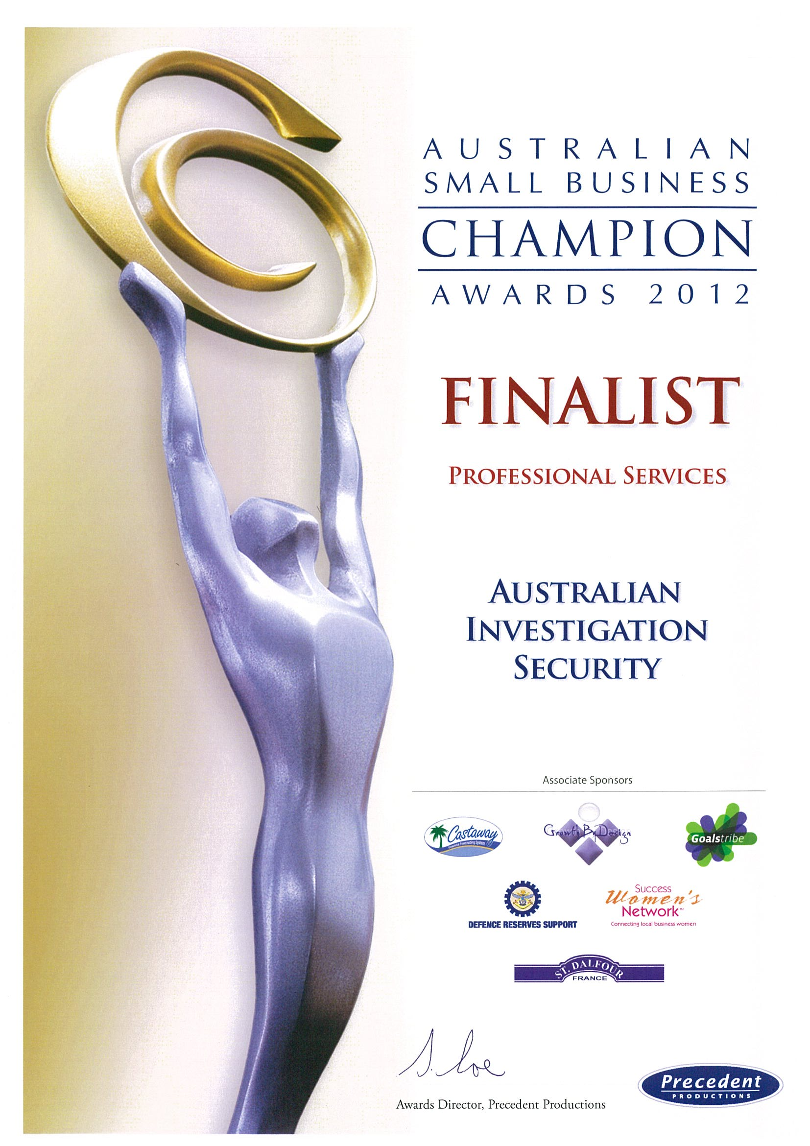 2012 Aust Small Business Champ Pro Services