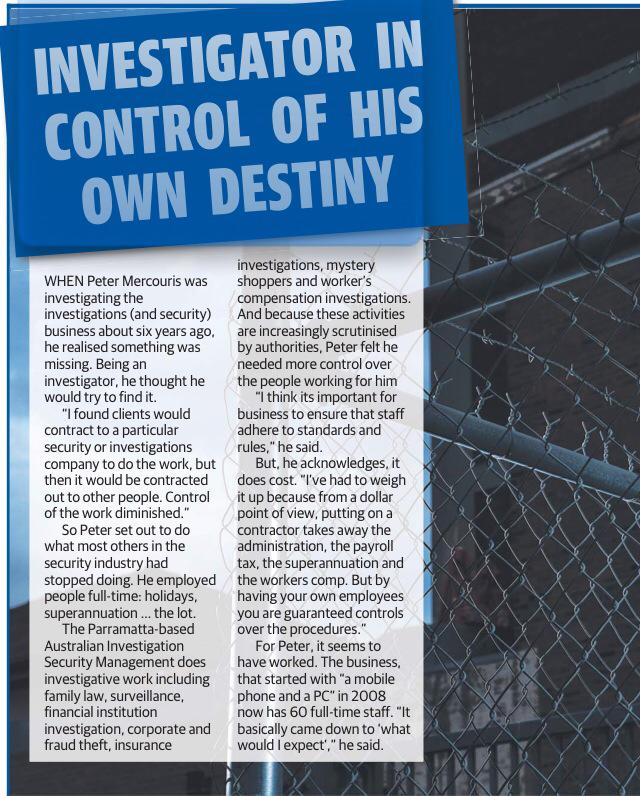 A year ago today, AISM's Principal Peter Mercouris appears in the Daily Telegraph after being contacted by Journalist Ross Greenwood to discuss the benefits of NOT subcontracting its man power.